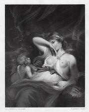 "Adorable Joshua REYNOLDS 1800s Engraving ""Venus with Cupid"" SIGNED Framed COA"