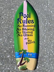 """COLORFUL 24"""" POOL RULES TROPICAL SIGN WALL HANGING ART ISLAND HOME DECOR"""