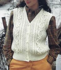 LADIES ARAN WAISTCOAT 32/42 INCH BUST KNITTING PATTERN BY EMAIL (1150)