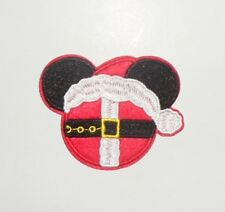 MICKEY MOUSE Head Santa Suit Embroidered iron on Patch 2 7/8""