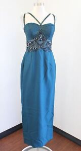 Vtg 90s Stone Ferris Teal Sequin Beaded Mesh Formal Party Evening Dress Size 8