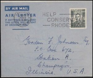 RHODESIA SOUTHERN 1949 6d. POSTAL STATIONERY AIRLETTER TO US (ID:677/D46254)