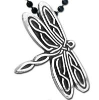 Celtic Dragonfly Pendant with black 24 inch steel chain made in USA