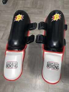 Boom Boom Boxing Striker Youth Shin and Instep Guards - Red/White