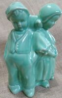 Vintage Cameron Clay Planter Celedon Green Dutch Boy and Girl by the Tree WV USA