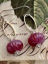 Silver with Violet Vintage Bead Dangle Earrings.