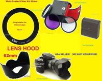 RING ADAPTER+FILTER KIT+LENS HOOD to> CAMERA NIKON COOLPIX P510 P520 P530 62mm