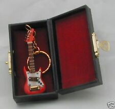 """Fender Electric Guitar handmade collectible miniature 2.75"""" key chain with case"""