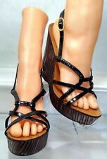 Baldinini Trend High Black Wedge Caged Sandals Women US 6 / 36 Made In Italy