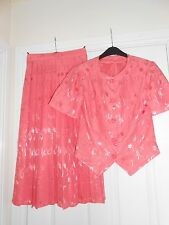 Peach Short Sleeve Jacket and Pleated Skirt, Size 10
