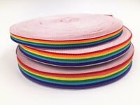 5-10yd Polyester Rainbow Color Stripe Woven Grosgrain Ribbon sewing Craft selec