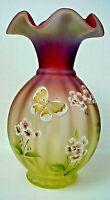 Fenton Glass Topaz Amberina Connoisseur Butterfly Solstice Vase 100th Anniversar