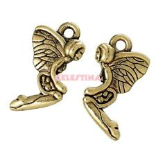20 Fairy Charms Antique Gold Fairies - 3D Angels Tinkerbell 20mm x 11mm