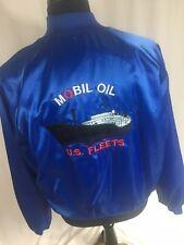 Vintage Mobil Oil US Fleets Satin Bomber Jacket Men's XL MADE IN USA