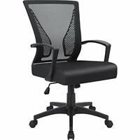 NEW Furmax Office Mid Back Swivel Lumbar Support Desk Ergonomic Mesh Chair Black
