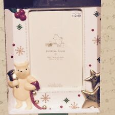 Disney Classic WINNIE THE POOH Christmas Porcelain Picture / Photo Frame