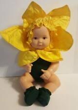 """Anne Geddes Vinyl Sunflower Baby Doll In Costume 14"""" Vtg 1999"""