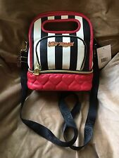 Betsey Johnson Lunch Tote Top Handle Black White Red Striped Insulated Box Bag