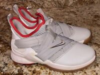 NIKE LeBron Soldier XII Grey Red White Basketball Shoes Sneakers NEW Youth Sz 5