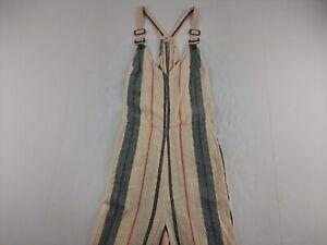Billabong Bella Day Striped Overalls Women S Wide Leg Capri Linen Blend Belted