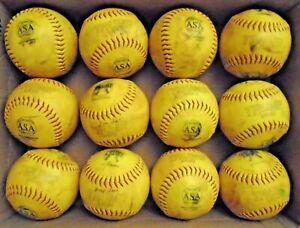 LOT OF '1 DOZEN 375/44 CORE TRUMP YELLOW ASA Softballs -Used in game play!