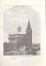 LODI CAMPANILE E CUPOLA DELLA CHIESA DELL'INCORONATA  incisione originale 1902