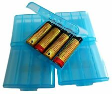 5PCS Blue Hard Plastic Case Holder Storage Box For Rechargeable AA Battery