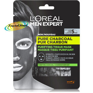 4x Loreal Men Expert Pure Charcoal Purifying Tissue Mask 30g