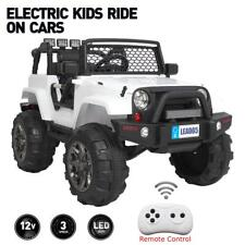 12V Powered Kids Ride On Car Toys Jeep 4 Wheels, 3 Speed, Remote Control, White