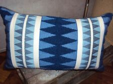 2 Dekokissen Kissenhüllen Raute Stickerei blau natur 30 x 50 cm Reißverschluß