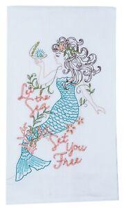 Kay Dee Let Sea Set You Free Mermaid Embroidered Flour Sack Kitchen Dish Towel
