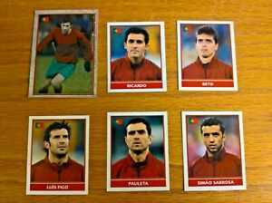 Merlin's England 2004 football trade cards stickers: Portugal players x6 unused