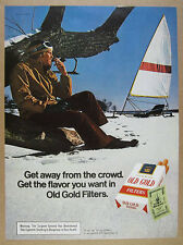 1972 ice boat iceboat photo Old Gold Cigarettes vintage print Ad