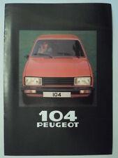 PEUGEOT 104 COUPE orig 1980 UK Mkt Sales Brochure - ZL ZR ZS