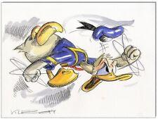 Grantinsch Général: Original PLUME ET AQUARELLE: Donald Duck en Rage III/24x32 cm