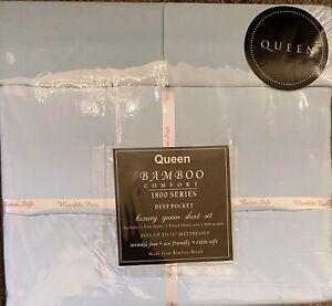 4 Pc 1800 Series Bamboo Egyptian Comfort Queen Sheet Set, Deep Pockets, Sky Blue
