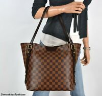 LOUIS VUITTON CABAS RIVINGTON DAMIER EBENE LEATHER SHOULDER BAG TOTE HANDBAG PUR