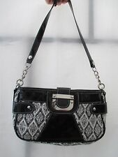 Flaunt Faith Nicole Black & White Fabric w/ Patent Leather Strap Purse Handbag