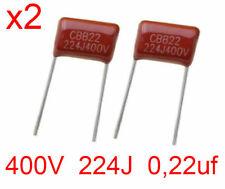 x2 Condensatore polipropilene 400V 224J 0,22uF - 2 pezzi - ITALIA
