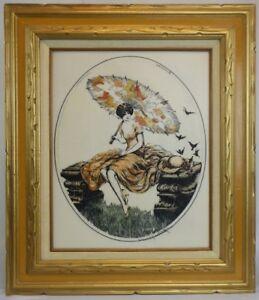 "Louis Icart 1928 ""Parasol"" Art Deco Lady Framed Repro  Engraved Lucite 28"" x 24"""