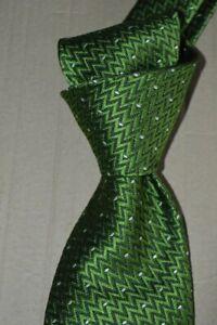 "$250 NWT TOM FORD Green w/ white dots men's 3.4"" woven Zig Zag SILK tie Italy"