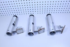 Lot of (3) Aluminum Boat Rod Holders Adjustable With Mounting Base