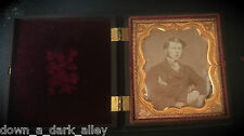 1850s Critchlow Union Case Daguerreotype of a Handsome Young Man - Tinted Cheeks