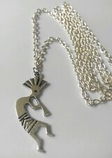 "Kokopelli Art Native American Indians Tibetan Silver Charm Pendant  30"" Necklace"