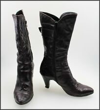 LA GONDOLA ITALY WOMEN'S HIGH HEELS MID CALF ZIP-UP DESIGNER BOOTS SIZE 8.5, 40