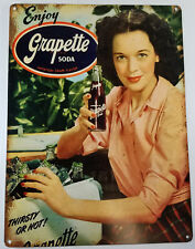GRAPETTE GRAPE FLAVORED SODA POP GIRL BY ICE COOLER HEAVY DUTY METAL ADV SIGN