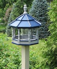 Large Gazebo Poly Bird Feeder Spindle type Amish Handmade Gray and blue