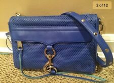 Rebecca Minkoff $195 MINI Mac Crossbody Shoulder Bag Clutch Leather Blue-NWT