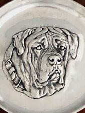 ~ Sydney & Co English Sterling Silver Pin / Card / Ash Tray English Mastiff 1910