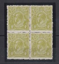 1924 Australia KGV 4d olive single wmk SG 80 block four 2 muh 2mlh
